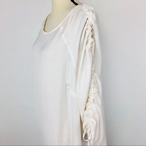 Lane Bryant blouse with cinched tie sleeves